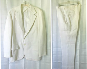 Vintage Mens Brooks Brothers Suit White Linen Jacket Pants 1960s 1970s Spring Summer Sport Coat 40 R