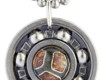 Tibetan Agate Roller Derby Skate Bearing Pendant Necklace