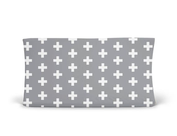 Changing Pad Cover Grey Plus Sign- Grey Changing Pad- Cross Changing Pad- Changing Pad Cover- Minky Changing Pad- Organic Changing Pad