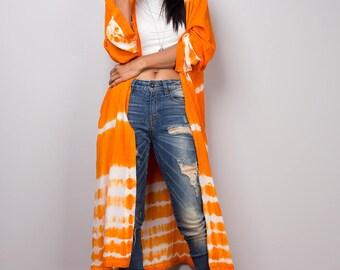 Cardigan, Duster vest, Orange Vest, Orange and white duster, Duster Cardigan, Wrap Cape, Tie Dye Long Sleeved Cardigan