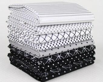 9 pc Fat Quarter bundle of Riley blake Basics.  Black, white, and silver with metallic's. *Modern Stash builder