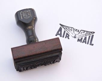 Vintage 1950's Air Mail Office Stamp - Wooden Handle Rubber Stamp - Office Business Shipping
