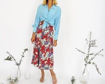 Summer Pretty Floral Midi Skirt