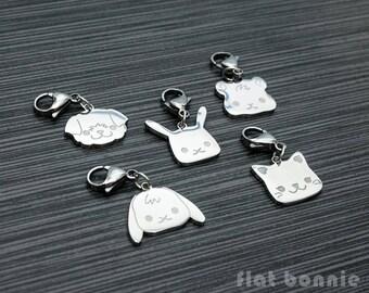 Cute animal backpack charm, Kawaii zipper pull, Bag accessory, Bunny, Dog, Cat, Guinea Pig, Pet memorial jewelry, Flat Bonnie