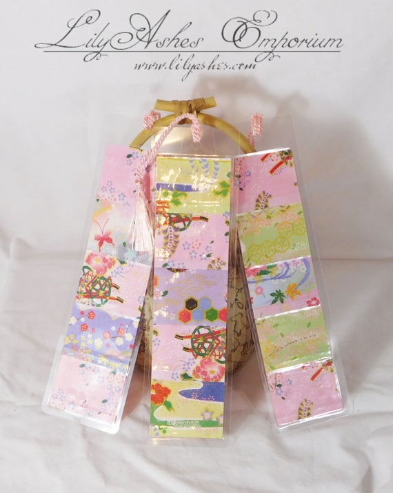 Pink Tassel Series Handmade Japanese Washi Paper Laminated Bookmark