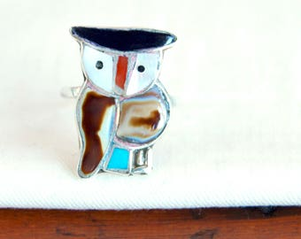Southwestern Owl Ring Zuni Bird Size 6 Sterling Silver Inlaid Mother of Pearl, Turquoise, Red Coral, and Onyx Boho Statement Ring