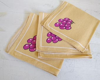 Vintage Grape Napkins, Yellow Napkins - Linen x 3