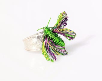 Butterfly ring -  wire wrapped jewelry -  solid silver ring - insect art -  modern hippie - Easter gift