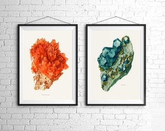 Blue Green Orange Crystal Mineral Teal Vintage Style Art Print Set Natural History Geology
