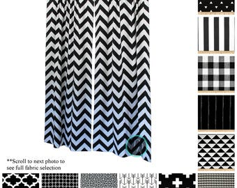 Geometric Curtains  Pair Of Drapery Panels  Black And White Curtains  Black  Bedroom Drapes Part 60