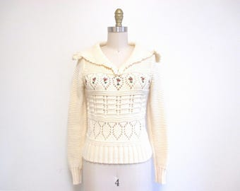 Vintage 1970s Sweater | Cream Knit Floral Embroidered 1970s Boho Sweater | size small