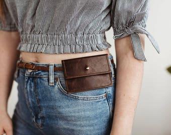 NEW!  Sam Leather Belt Pouch. Leather Wallet. Belt Wallet. Simple Leather Wallet. Leather Button Wallet. Business Card Holder
