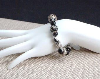 Carved Wood, Onyx, and Sterling Silver Bracelet