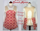Retro 50s SMOCK APRON - Vintage Paisley in Blush, no neck ties comfort, made-to-order in XS to Plus Size, H-back style sits on shoulders
