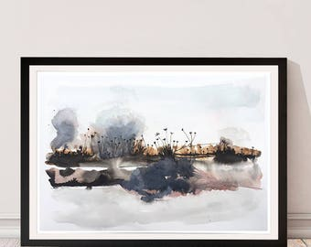 Between Worlds. Abstract Watercolor. Print.