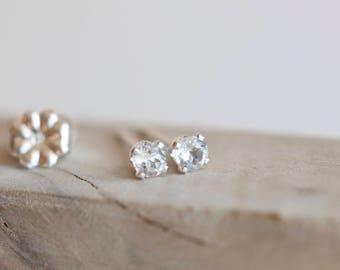 Tiny White Topaz Stud Earrings 14K GOLD EARRINGS WhiteTopaz Birthstone Earrings Gold Stud Earrings Tiny Studs Bridesmaid Gift Diamond April