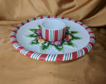 Fitz and Floyd Peppermint Large Chip and Dip Platter Serving & FF teddy *eb
