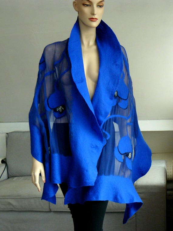 Clothing Gift, Nuno felted shawl, large scarf, wool and silk Blue