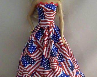 Handmade Barbie Clothes-Flag Print Barbie Dress, 4th July, Americana