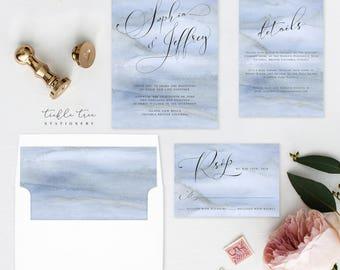 Wedding Invitation Suite, Semi Custom - Blue Shores (Style 13761)