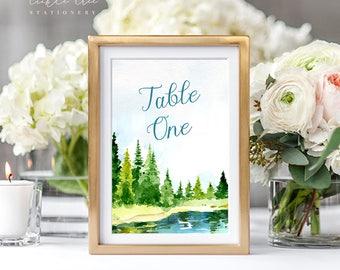 Reception Table Numbers 1 - 15 (Ready to Ship) - Lakeside Watercolours (Style 13724)