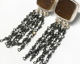 Sterling Silver Bezel Set Brown Druzzy Dangle Post Earrings with Pyrite chain, Drusy earrings, Pyrite earrings, Square earrings (E113)