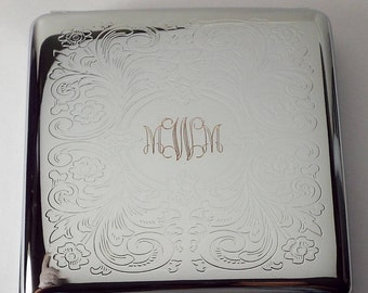 Cigarette Case Custom Engraved Personalized Double Sided King Size Scroll Design  -Hand Engraved