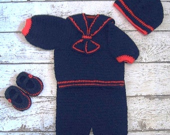 Crochet Baby Boy Sailor Outfit Navy Blue and red knit Sailor Boy Set blue Newborn Sailor Set infant Sailor set Sailor Baby set Baby Boy set