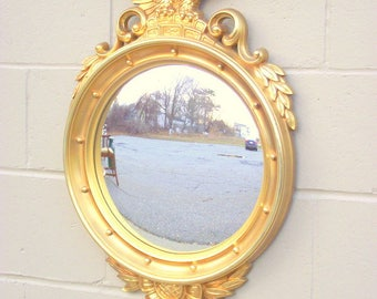 "Antiqued Gold Federal Bulls Eye Mirror with Eagle - X Large 29"" x 18"" - Bullseye Butler - American Retro - Antique Gold"