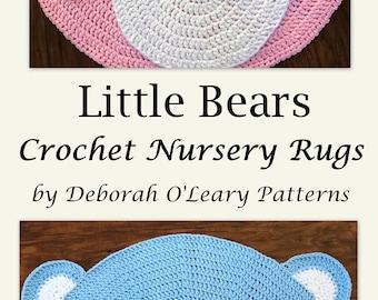 Crochet Rug PATTERN - Crochet Bear Rug - Nursery Rug Pattern - Little Bears Nursery Rugs - #Crochet Mat - by Deborah O'Leary Patterns