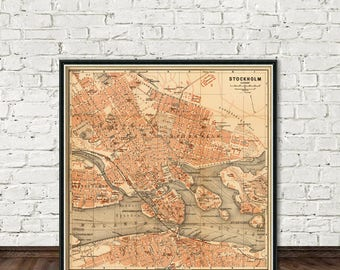 Old map of Stockholm - Historical plan of Stockholm, fine reproduction