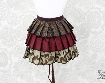 """Steampunk Ruffle Bustle Overskirt - Burgundy, Brown, & Tan - 3 Layer, Sz. S - Fits up to 45"""" Waist/Upper Hip -- Ready to Ship"""