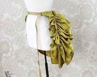 """Steampunk Siren Bustle Overskirt -- Gold Roses Brocade, Mini Length -- Fits up to 50"""" Waist/Upper Hip"""