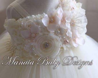 Ivory Vintage Tutu Dress / Blush Flower Girl Dress / Blush and Ivory Tutu Dress
