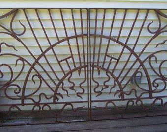 iron windows,iron panels,pair vintage ornate iron window panels,fabulous pair of sunburst iron window panels, mediterranean iron windows