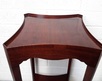 """Herman Miller Clock Co. Furniture Stand 2 Tier Clock / Plant Stand Antique Wood Stand Zeeland Michigan 28"""" Tall x 13"""" Sq"""