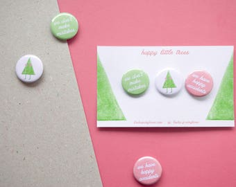 Bob Ross- Happy Trees and Happy Accidents Pink and Green 3-Badge Set