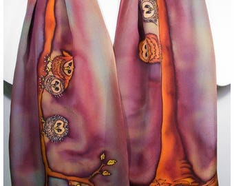 """Owl Silk Scarf. 11""""x58"""". Mother's Day gift. Hand painted silk scarf. Painted silk scarf. Owl scarf. Hand-painted silk scarf~Silk painting"""