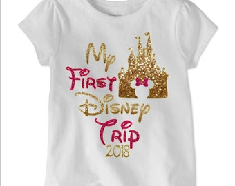 My First Disney trip shirt for girls / Glitter Disney shirt /Cinderella Castle/Glitter Minnie Disney Shirt/ Disneyworld Girls Shirt/ Disney