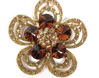 Vintage ROM Amber Champagne Rhinestones Flower Gold Tone Pin Brooch Pendant Vtg