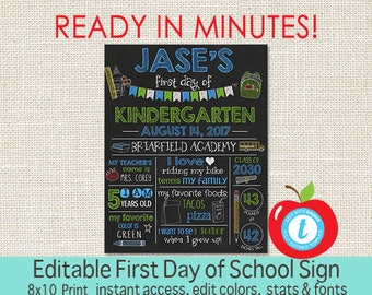 First Day of School Sign, EDITABLE Chalkboard, First Day of School, ANY GRADE, Back to School, 1st Day Printable Sign, Instant Download