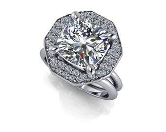 Platinum Engagement Ring - Diamond Halo Engagement Ring Cushion Cut Supernova Moissanite 4.63 CTW - ON SALE