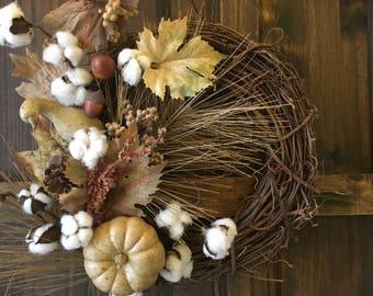 Fall Wreath / Autumn Wreath / Cotton Boll Wreath / Grapevine Wreath