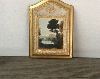 Vintage Italian Florentine small gold wall plaque with Italian nature scene