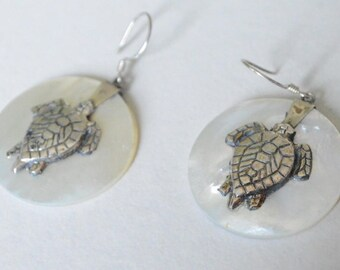 Vintage Sterling Silver White Mother of Pearl Pierced Dangle Turtle Earrings