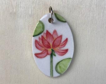 Lotus Flower Painted Porcelain Pendant