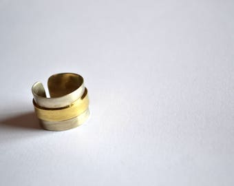 Two Tone Ring, Minimalist Ring, Everyday Ring, Wide Band Ring, Simple Ring, 18K Gold Plated