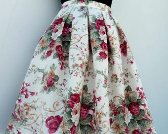 Custom made formal floral skirt, all sizes pleated floral skirt