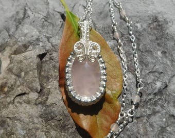 Wire wrapped rose quartz and silver hematite beaded pendant