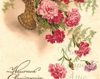 Pink Carnations in Basket Antique Vintage French Postcard Chromo Post Card from Vintage Paper Attic